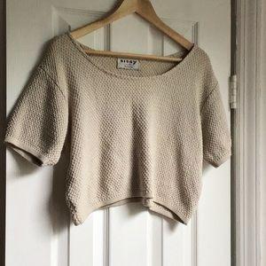 Vintage Sweater Knit Ivory Cream Summer Crop Top